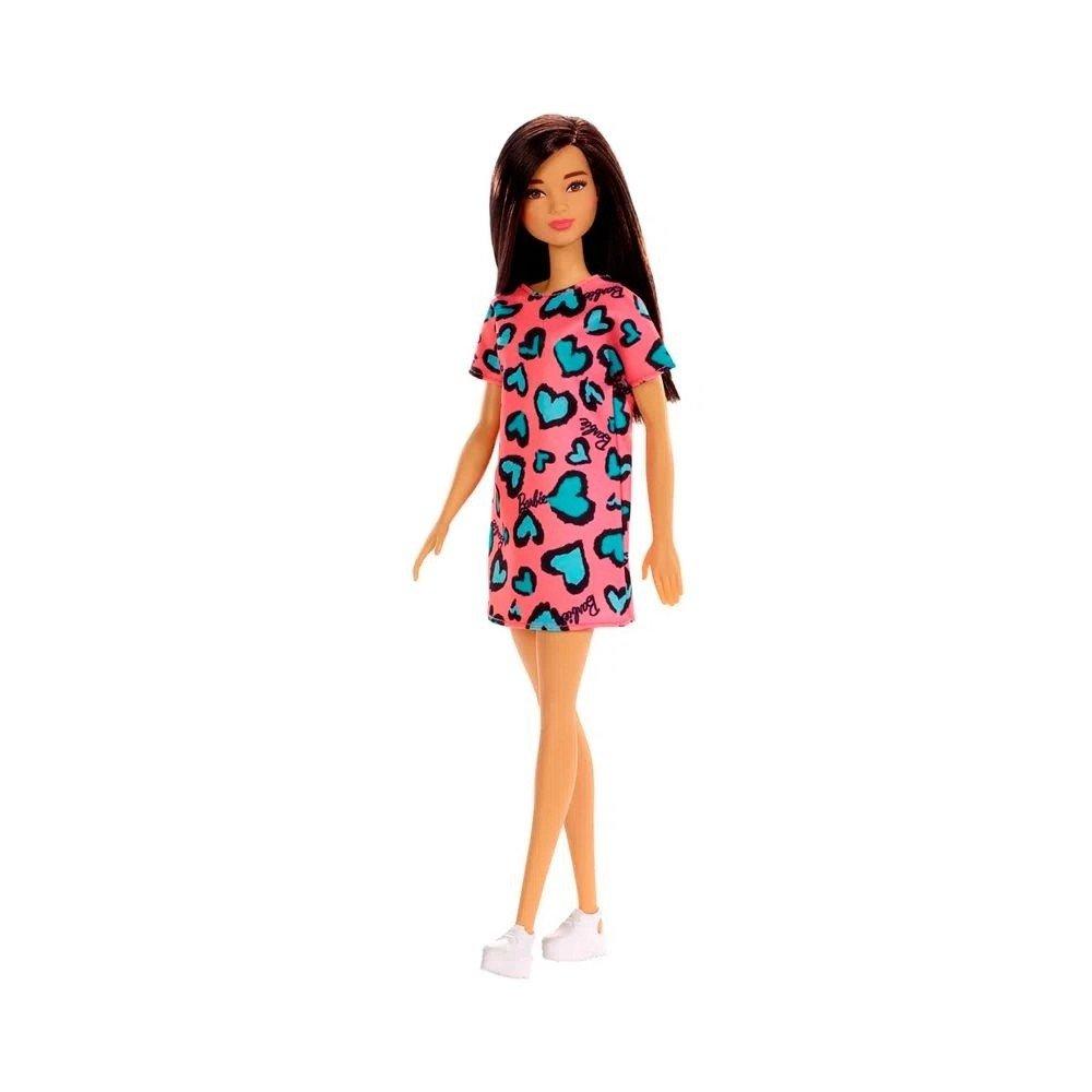 Boneca Barbie Fashion Morena Vestido Salmão - Mattel Ghw46