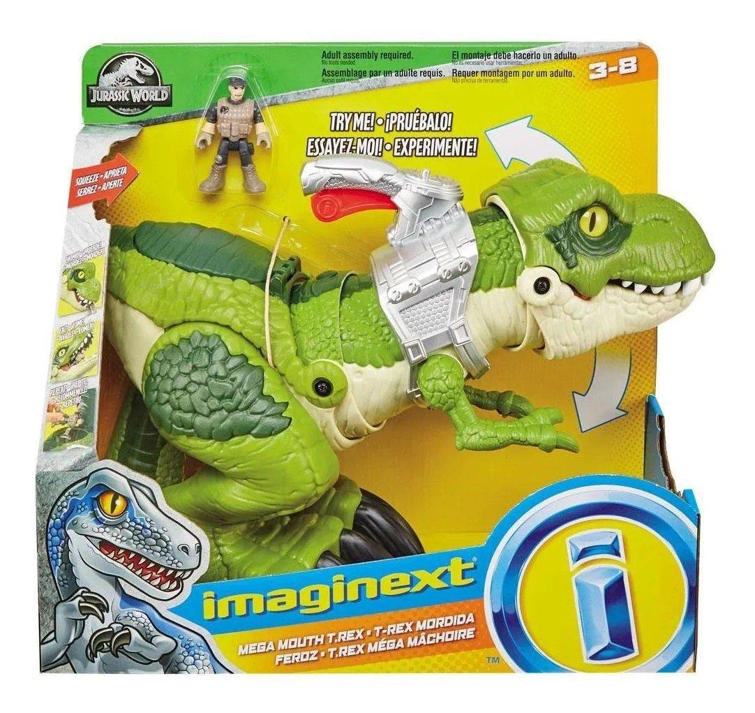 Dinossauro E Boneco Imaginext Jurassic World T-rex Mega Mordida - Mattel Gbn14