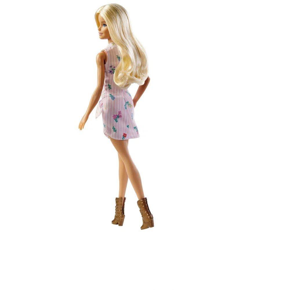 Boneca Barbie Fashionista Loira Com Vestido Rosa Florido 119 - Mattel Fxl52