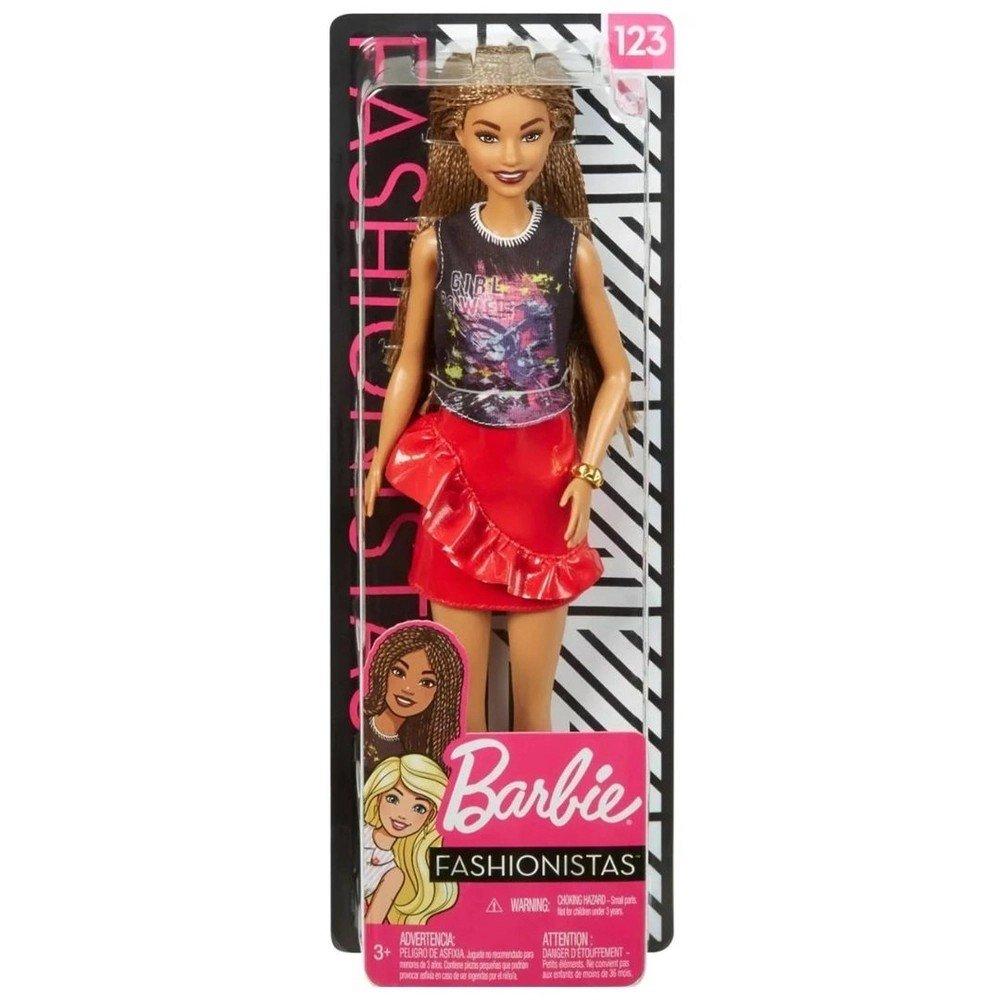 Boneca Barbie Fashionista Negra Com Tranças E Saia Vermelha 123 - Mattel Fxl56