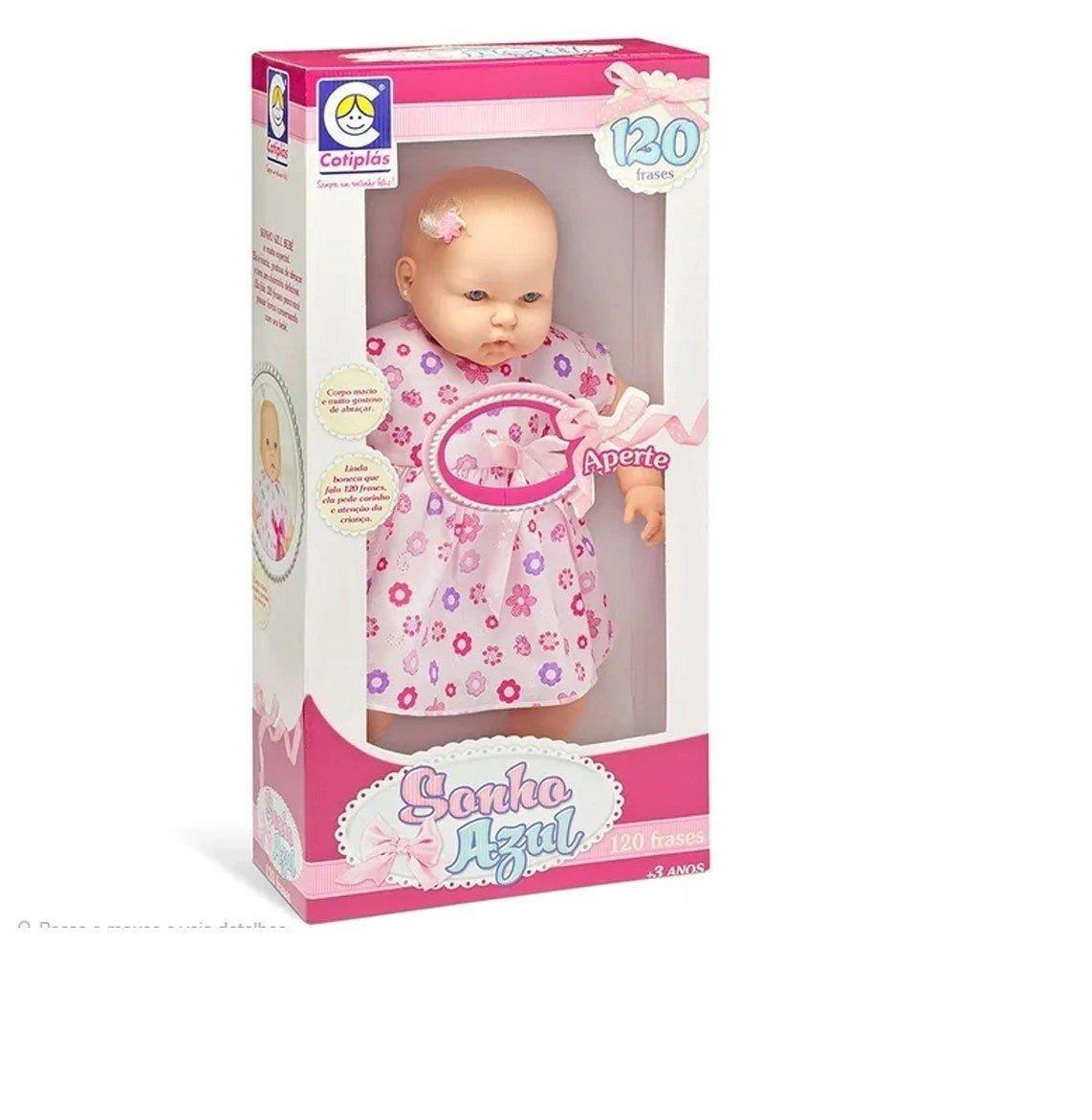 Boneca Bebê Sonho Azul 120 Frases Roupinha Sortida Cotiplás 2072