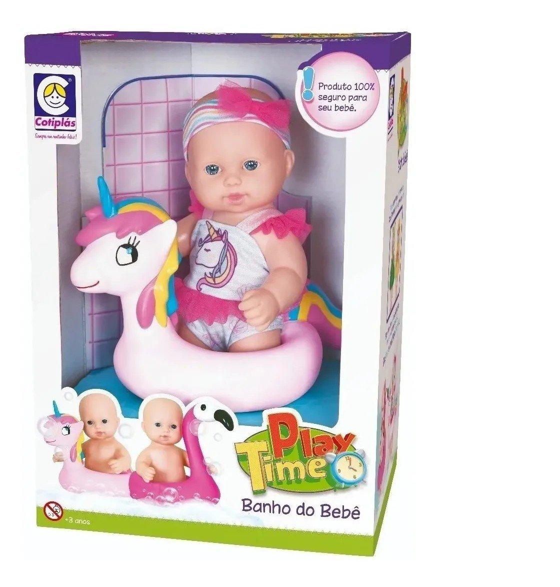 Boneca Play Time Hora Do Banho Unicornio - Cotiplás 2279