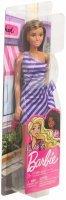 Barbie Loura Fashion Glitter Vestido Listrado Roxo E Branco - Mattel Fxl69