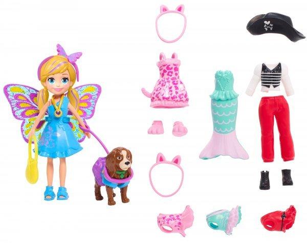 Boneca E Acessórios Polly Pocket E Cachorrinho Com Fantasias - Mattel Gdm15
