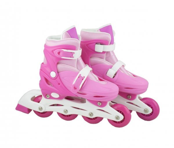 Patins In Line Com Led Rosa E Branco 32-35 - Bbr R2807