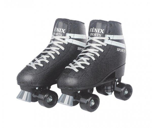 Patins Roller Skate Com 04 Rodas Preto 34-35 - Fênix Rl-04