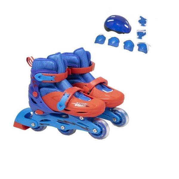Patins Com 3 Rodas Inline E Kit De Proteção Azul E Vermelho