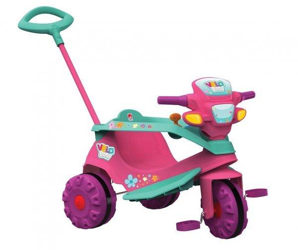 Triciclo Velobaby Gatinha Rosa De Passeio E Pedal - Bandeirante