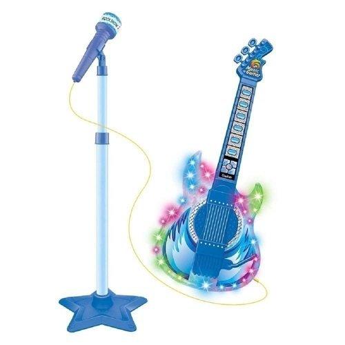 Guitarra Com Microfone Pedestal Rock Show Azul - Dmtoys