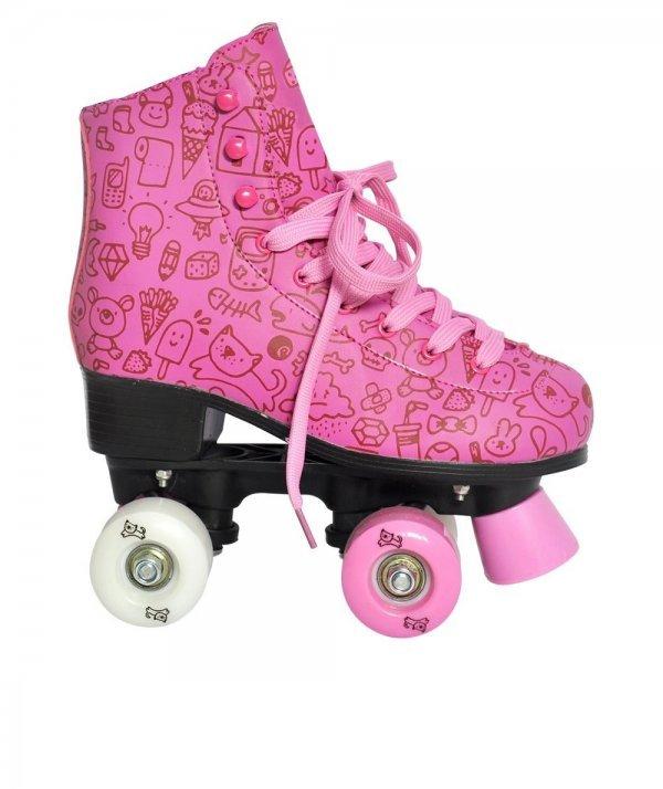 Patins Roller Estilo Rosa Tam 33 50kg - Dm Toys