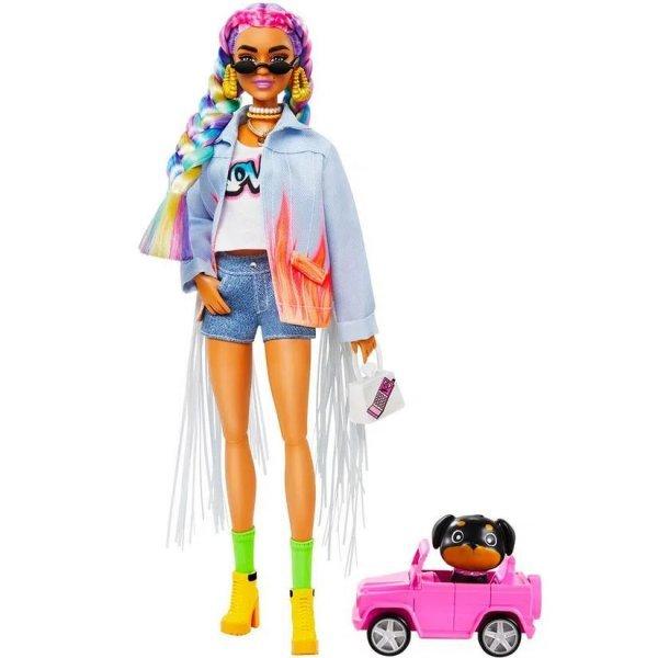 Boneca Barbie Extra Cabelo Com Tranças Arco-íris Com Animal Estimação - Mattel Grn29