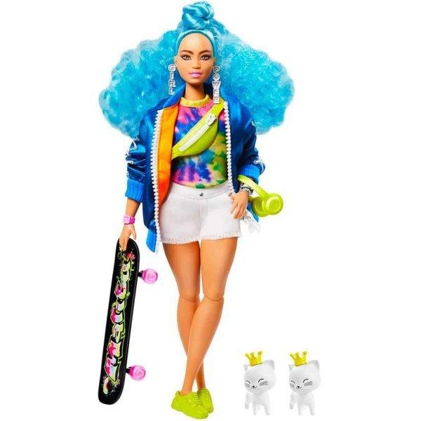 Boneca Barbie Extra Cabelo Azul Com Skate E Animal De Estimação - Mattel Grn30