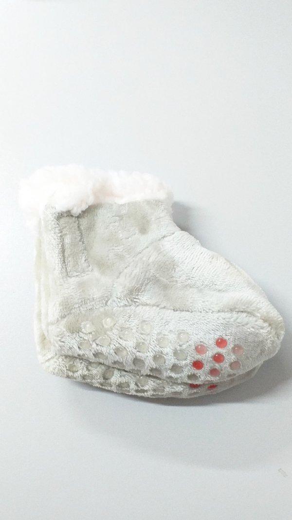 Pantufa Bebê Forrada 0 A 12 Meses Cinza - Md