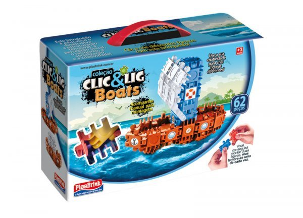 Clic&lig De Montar Boats 62 Peças - Plasbrink 0709