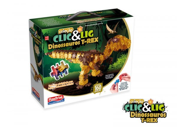 Clic & Lig De Montar Dinossauo T-rex 155 Peças - Plasbrink 0761