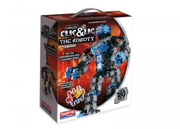 Clic & Lig De Montar Robôs Megabot 160 Peças - Plasbrink 0600