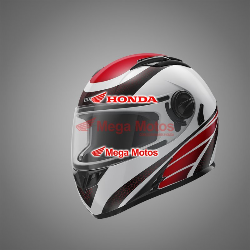Capacete HF2 Honda Branco/Vermelho