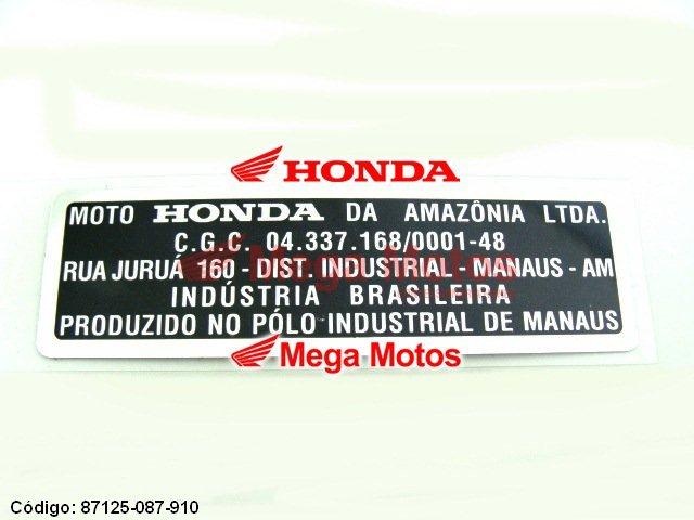 Etiqueta Identificação Fabricação Vários Modelos