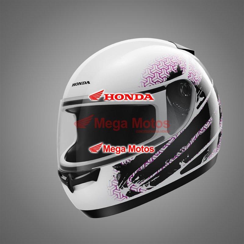 Capacete HFS Honda Branco/Rosa