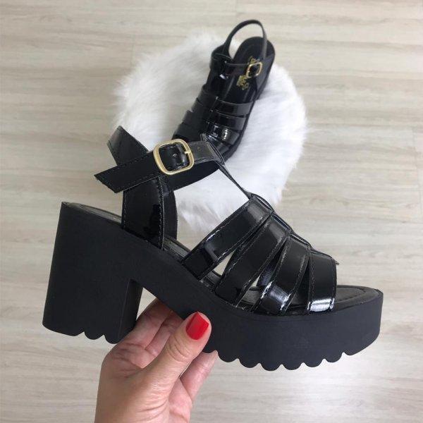 VernizDamannu Preta Shoes Sandália Tratorada OkPn0N8wX