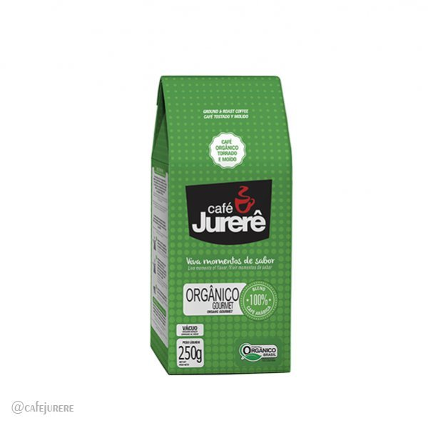 Café Jurerê Orgânico Gourmet - Vácuo 250g / Organic Jurerê Gourmet Roast and Ground Coffee - 250g Vacuum Packaging