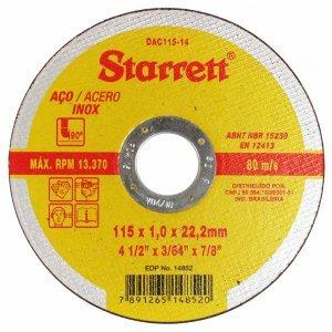 Disco de Corte Inox de 4.1/2 Pol 115 X 1,0 X 22,23  Starrett