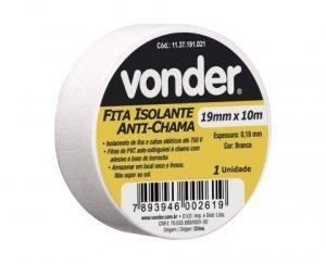 Fita isolante 19mm x 10m branca Vonder