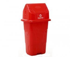 Lixeira Ecológica Capacidade 50 Litros Vermelha / Plástico