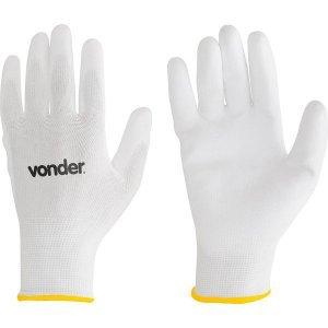 Luva de Poliéster com Poliuretano branca tamanho 9 Vonder