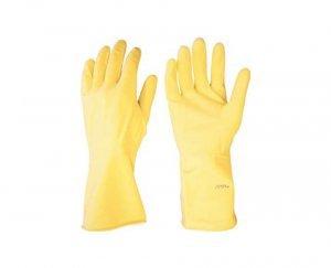 Luva latex M amarela com forro