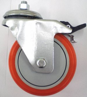 Rodízio Giratório Freio/Plc. Inox GL 514 UPE-Poliur 150kg