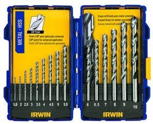 Jogo de brocas para metal aço rápido 1,5 a 10mm 15pcs Irwin