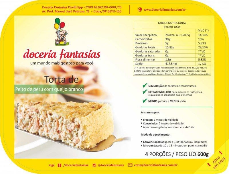 Torta de peito de peru com queijo branco 600 grs