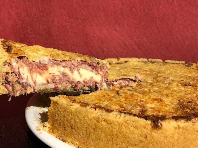 Torta de carne seca com requeijão