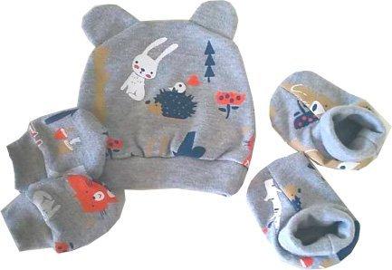 kit maternidade Touca/sapatinho/luvinha bichinhos da floresta