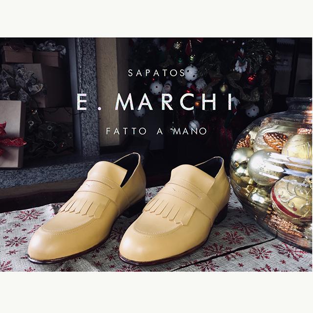 Sapato masculino de couro feito à mão com sola de couro Sapatos E. Marchi