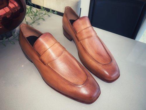 Sapato Loafer Lugano E. MARCHI Patina cor caramelo