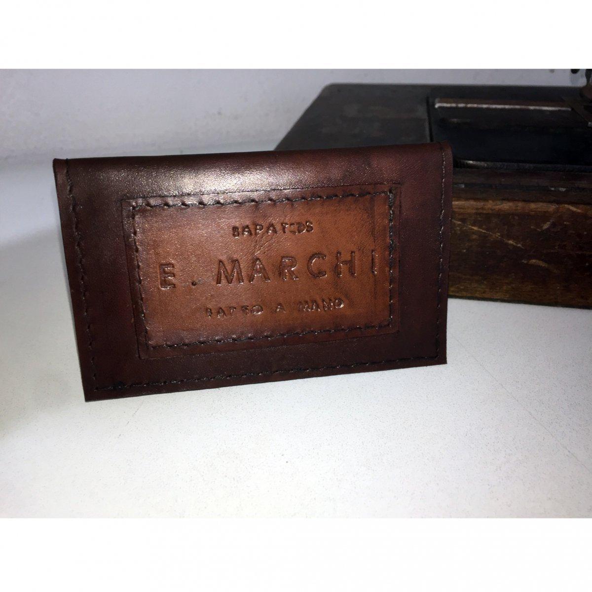 Porta Cartão de Couro com Pintura em Pátina feita a mão E. MARCHI
