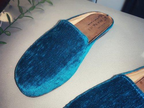 Mule Capri E. MARCHI Veludo cor azul