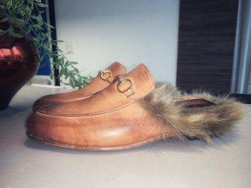 Sapato Mule Firenze E. MARCHI Pelos Caramelo
