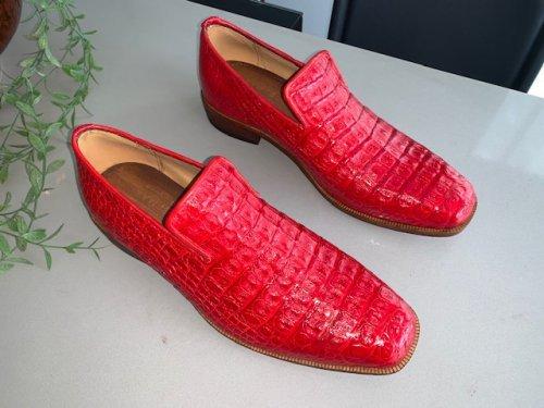 Sapato Loafer E. MARCHI Croco cor Flame Scarlet