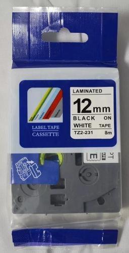 Fita Compativel  Rotulador Brother Tze Tz-231 Branca 12mm