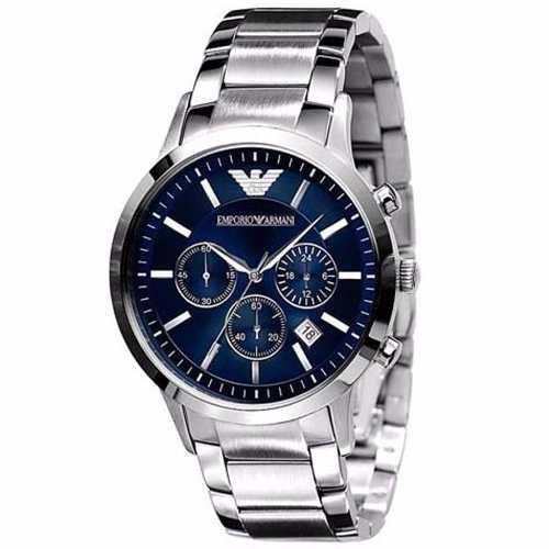 e2aba5e9732 Relógio Emporio Armani Ar2448 Aço Escovado Azul Original