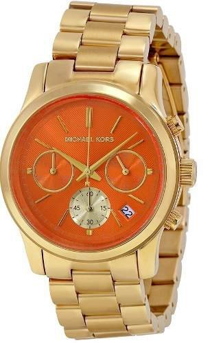 4ecc6b06636 Relógio Michael Kors Mk6162 Dourado Laranja Novo Original ...