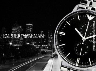 68e60fa6a0e Relógio Emporio Armani Ar0389 Prata E Preto Completo