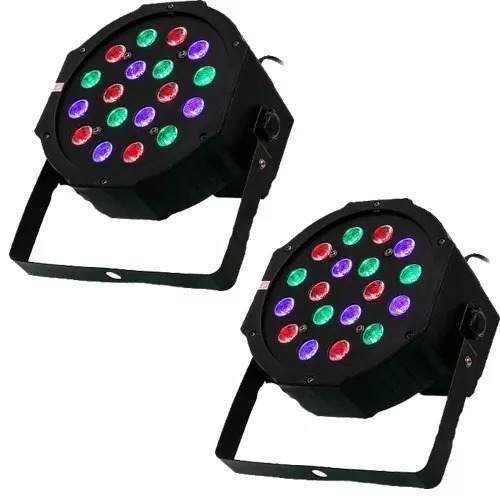 Kit 2 Canhão Refletor Led Par 64 Rgb 18 Led 1w Dmx Digital