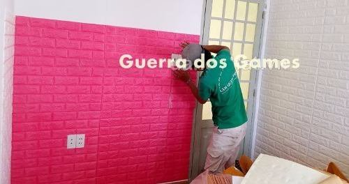 Painel 3d Tijolo Rosa Pink Auto Adesivo 77 X 68 Promoção!
