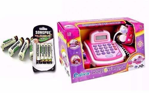 Caixa Registradora Infantil Com Som E Luz + Cartela Pilha Aa
