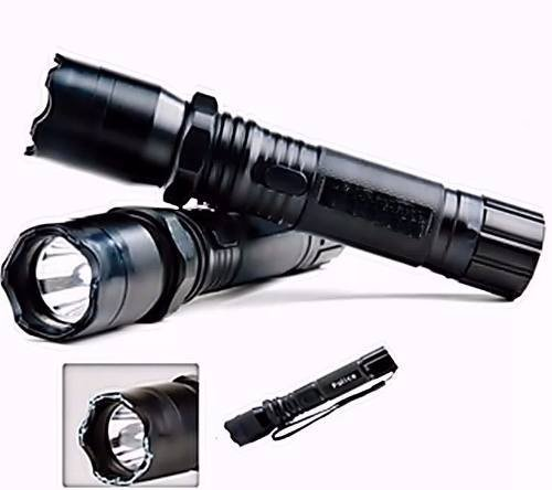 5 Lanterna Tatica Choque Potencia 128000w Recarregável Poli