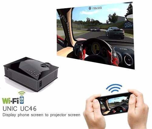 Mini Wifi Projetor Conecta Celular Tablet Slides Filmes Uc46